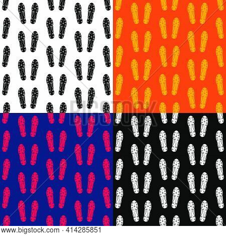 Set Of Seamless Patterns With Soccer, Football Boot, Sneaker Bottom View. Ornament For Decoration An