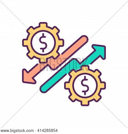 Economic Upturn And Downturn Rgb Color Icon. Impact On Global Economy. Slump Output. Trade Cycle. Co