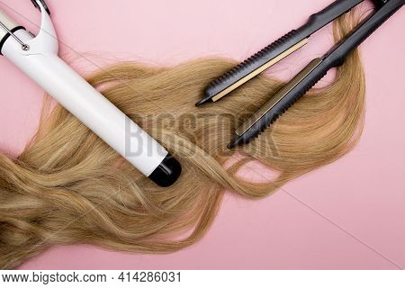 Hair Curling, Styling And Hairstyles For Blond Curls. Curling Iron. Volumizing Fine Hair. Hairdresse