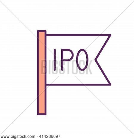Initial Public Offering Rgb Color Icon. Offering Shares To Public. Stock Market Launch. Raising Capi