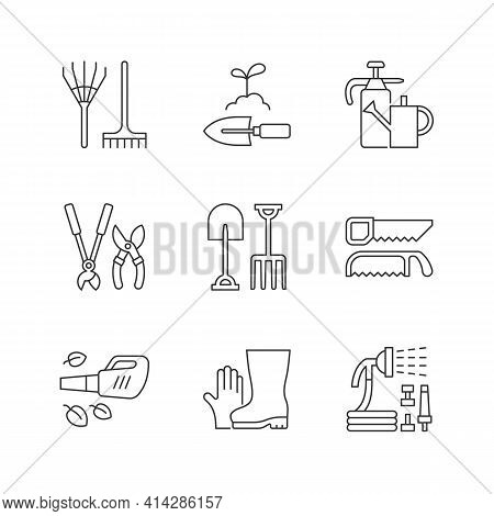 Gardening Equipment Linear Icons Set. Rake. Hand Trowel. Watering Can And Sprayer. Hedge Trimmers. C