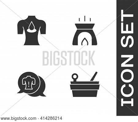 Set Sauna Bucket And Ladle, Massage With Aroma Oils, And Aroma Candle Icon. Vector