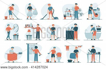 Housework Set Vector Isolated. Collection Of Men