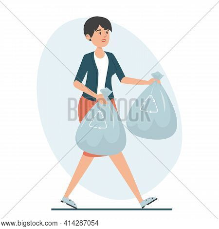 Woman Holding Garbage Bags Vector Isolated Illustration