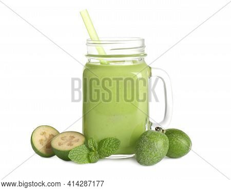 Fresh Feijoa Smoothie In Mason Jar And Fresh Fruits On White Background