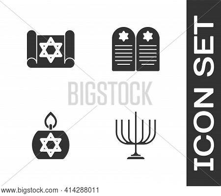 Set Hanukkah Menorah, Torah Scroll, Burning Candle And Tombstone With Star Of David Icon. Vector