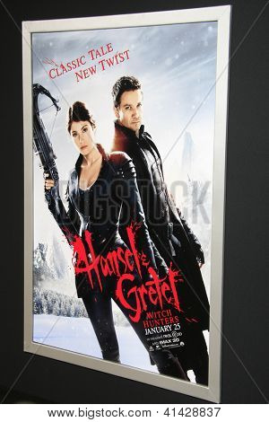 LOS ANGELES - JAN 24:  Hansel And Gretel: Witch Hunters Poster  at the 'Hansel And Gretel: Witch Hunters' premiere at the Chinese Theater on January 24, 2013 in Los Angeles, CA