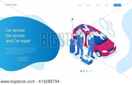 Isometric Auto Car Repair Service Center. Car Repair Station. Online Roadside Assistance.