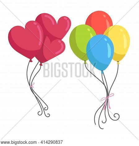 Bunch Of Colorful Celebration Round Balloons And Balloons In The Shape Of A Heart Isolated On White