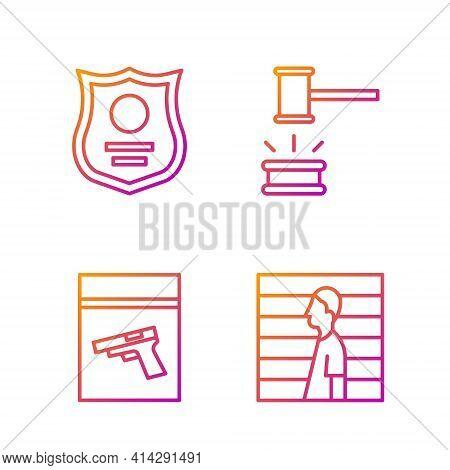 Set Line Suspect Criminal, Evidence Bag And Pistol Or Gun, Police Badge And Judge Gavel. Gradient Co
