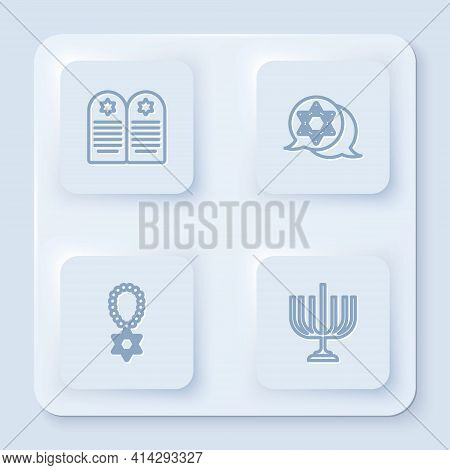 Set Line Tombstone With Star Of David, Star David, Necklace Chain And Hanukkah Menorah. White Square