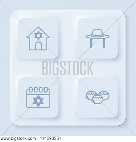 Set Line Jewish Synagogue, Orthodox Jewish Hat, Calendar And Sweet Bakery. White Square Button. Vect