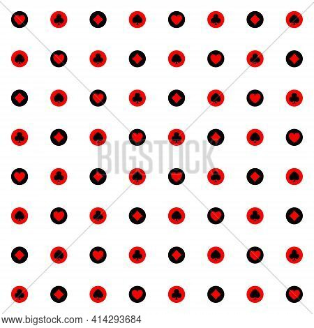 Seamless Polka Dot Pattern With Card Suit Icons Inside. Vector Illustration