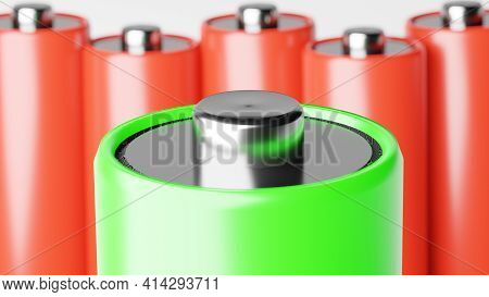 Large Group Of Aa Batteries Standing In Rows Top View. Background Concept Of Recyclable Electrical E