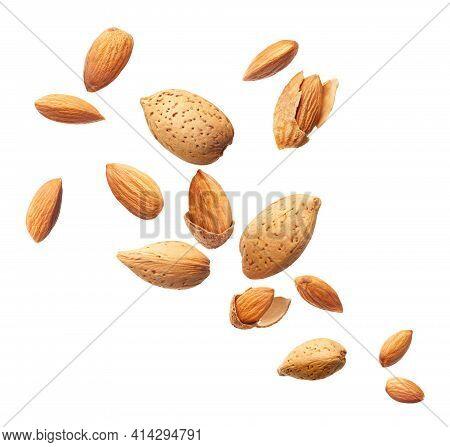 Flying Almonds Isolated On White Background Macro