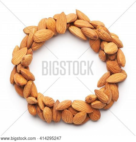 Almonds With Round Copyspace Against White Background