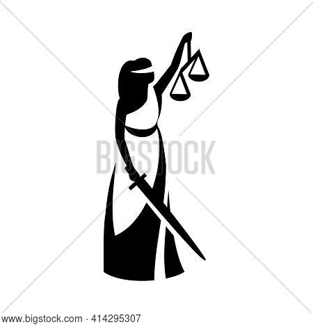Lady Justice. Statue Of The Blind Goddess Themis In A Toga With A Sword, Scales. Vector Illustration