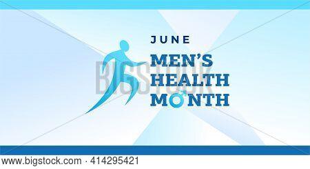 Men's Health Month. Vector Banner, Illustration, Poster For Social Media. The Figure Of The Running