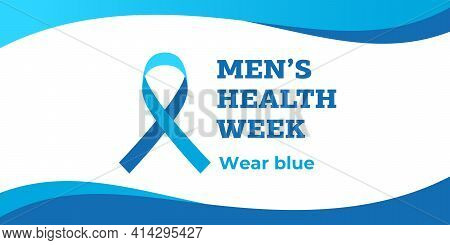Men's Health Week. Vector Banner, Illustration, Poster For Social Media. Theblue Ribbon And The Text