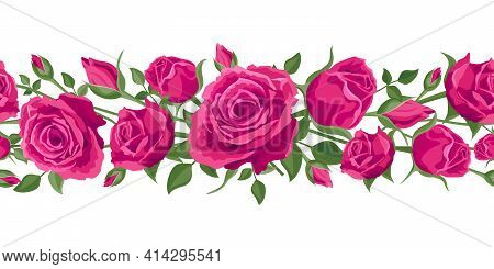 Seamless Flower Garland. Hot Pink Roses With Leaves. Vector Illustration, Decoration, Garland On A W