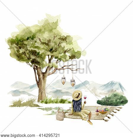 Picnic Outdoors Scene. Young Girl Sitting With A Glass Of Wine Under The Tree. Watercolor Illustrati