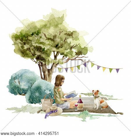 Young Girl Sitting With A Book Under The Tree. Picnic Outdoors Scene. Watercolor Illustration. Singl