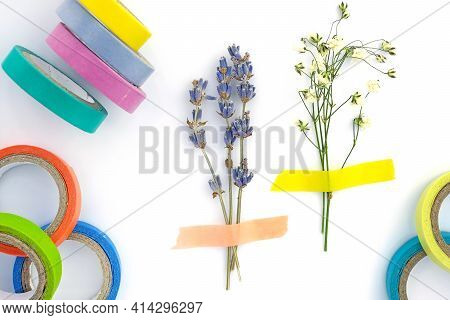 Set Of Paper Sticky Tape On A White Background. Colored Selfadhesive Tape For Decoration. Decorative
