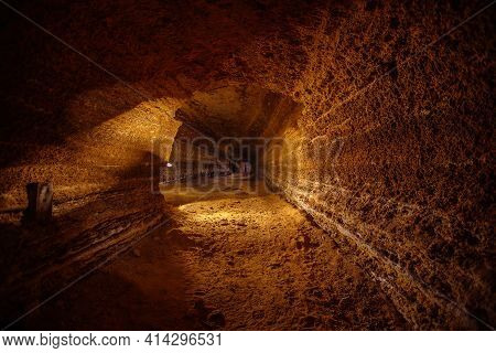 Abandoned Prospecting Adit. Tunnel At Limestone At Abandoned Mine