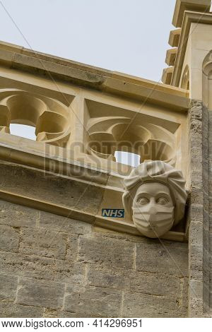 Editorial, New Stone Carving Of A Masked Ppe Nhs Worker Commemorating Or Celebrating The Covid 19 Ep