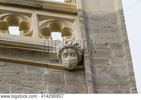 Editorial, New Stone Carving Of A Masked Ppe Nhs Worker Commemorating Or Celebrating The Covid 19 Pa