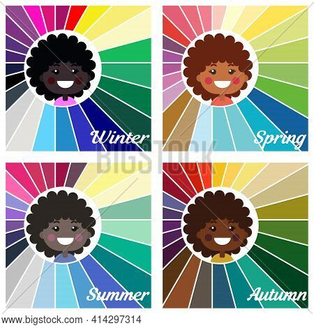 Stock Vector Seasonal Color Analysis Palettes For Different Types Of Girls Appearance. Best Colors F
