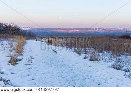 Overlooking River Valley At Dawn From Pilot Knob Preservation Site In Mendota Heights Minnesota