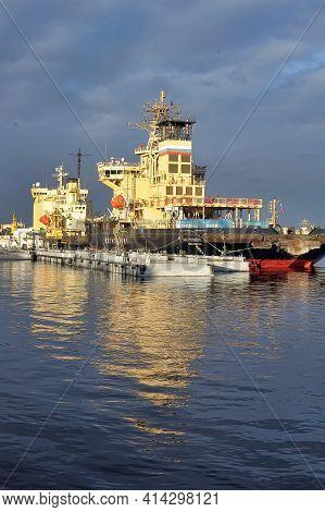 Russia, St. Petersburg, 30,03,2014 Icebreaker On The Wharf Of The Neva