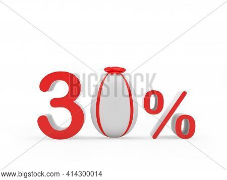Discount Thirty Percent Off With Easter Egg Decorated With Red Ribbon. 3d Illustration
