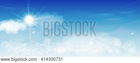 Morning Sky With White Clouds And Sun Shining, Horizon Spring Sky Scape In Blue Colour,vector Backgr