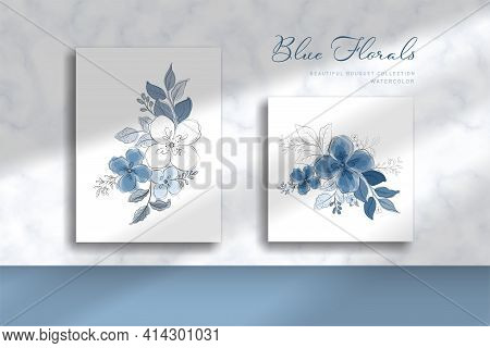 Beautiful Blue Bouquet Illustration With Watercolor Style. Presented On A Marble Wall With Shade Pas