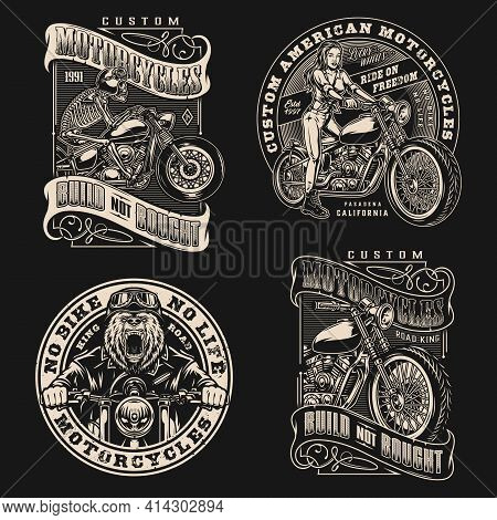 Custom Motorcycle Vintage Labels With Inscriptions Angry Bear Moto Rider Skeleton And Girl Bikers An