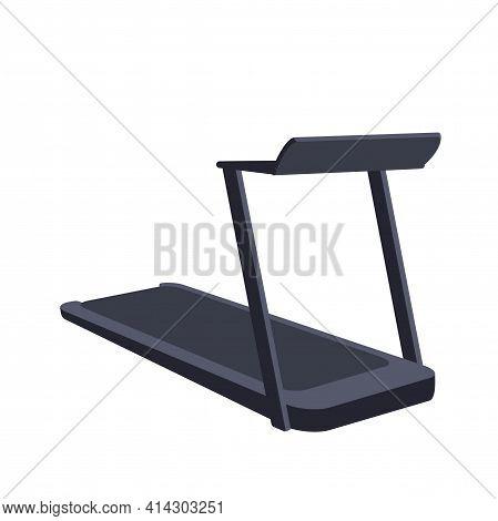 Flat Treadmill Isolated For Healthy Sport Equipment Design. Running Machine Vector Drawing Illustrat