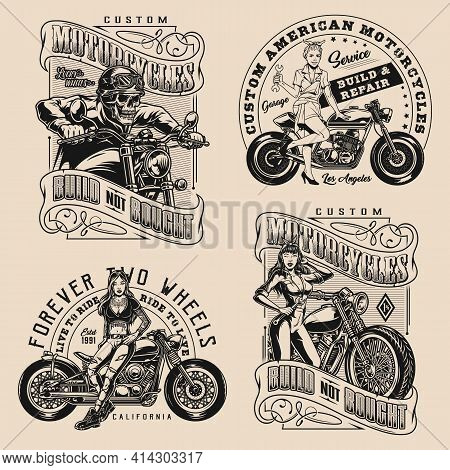 Motorcycle Vintage Monochrome Badges With Attractive Biker Girl Skeleton Moto Rider And Pretty Women