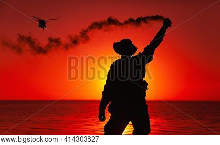 Silhouette Of Army Special Operations Forces Soldier, Commando Fighter Signaling, Marking Landing Sp