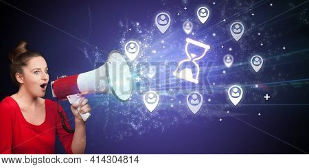 Young person with megaphone and business icon