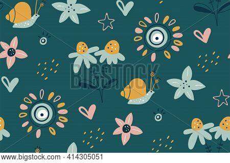Spring Summer Flower Texture. Garden Flower, Plants, Botanical, Seamless Pattern. Good For Poster, C
