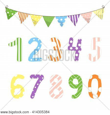 Vector Illustration With Numbers From Zero To Nine And Math Symbols. For Children Studying Arithmeti