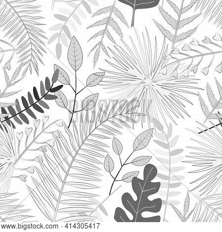 Seamless Vector Pattern With White And Black Tropical Leaves. For Decoration, Invitation, Fabric, Te