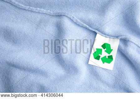 Clothing Label With Recycling Label On Cashmere Sweater, Closeup