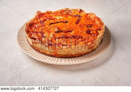 Homemade Quiche Pie With Chicken, Dried Tomatoes, Cheddar Cheese On Light Background. Close Up, Copy