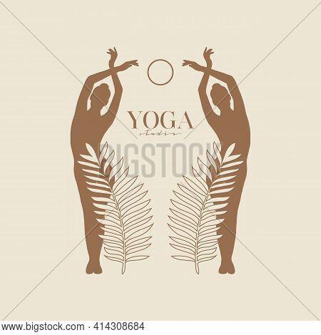 Vector Illustration Silhouette Of Two Women With Palm Leaves And Moon. Modern Minimalist Mystical As