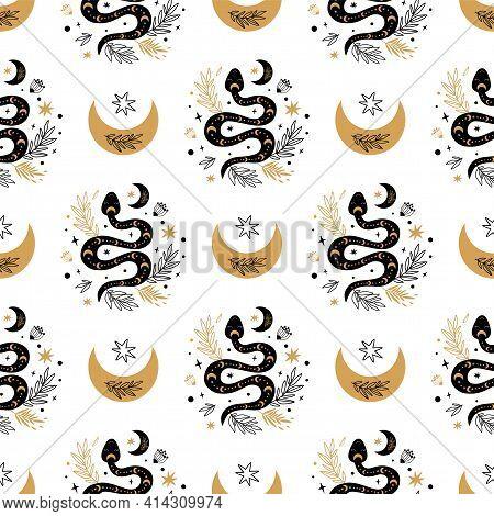 Serpent Pattern. Floral Snake Moon Seamless Pattern. Mystic Celestial Serpent Background. Botanical