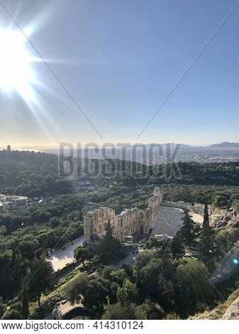Athens, Greece - December 1, 2019: Ruins Of The Theatre Of Dionysus, Located In The Acropolis Of Ath