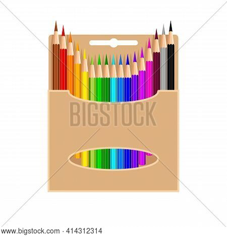 Colored Pencils In Cardboard Box, Isolated On White Background. Colorful Pencils Are Poked Out Of Pa